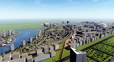 Artist perspective of the new $120 million Diamniadio Valley digital city project to be developed in Senegal.