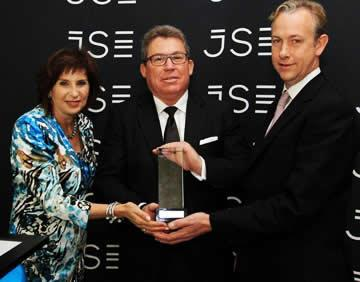 Seen at the Sirius Real Estate Limited JSE listing event: Donna Oosthuyse, Director at JSE, Andrew Coombs, CEO, Sirius Real Estate Limited and James Peggie, Director, Sirius Real Estate Limited