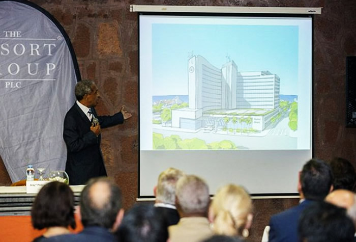 An artist impression of Hilton Praia being presented by the Resort Group at a ceremony held recently in Cape Verde's capital, Praia.