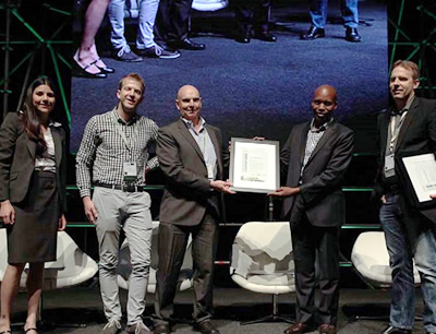 Winners of the Highest Rated Building category in the Green Star SA Leadership Awards 2015, from left; Anaia dos Santos, David Pollock and Andre Harms of Hotel Verde in Cape Town, with Seana Nkhahle and Manfred Braune of the Green Building Council of SA.