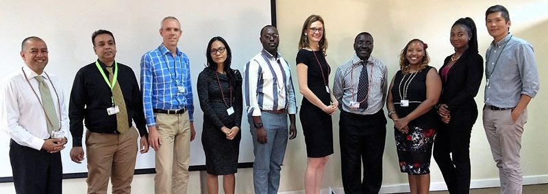 Gbcsa's Managing Executive, Grahame Cruickshanks (third from left) and World GBC CEO, Terri Wills (sixth from left) with key players from the Kenya Green Building Society at the signing of the Green Star license agreement.