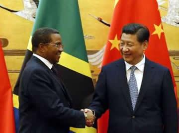 Tanzania's President Jakaya Kikwete and Chinese President Xi Jinping shake hands during a signing ceremony in Beijing on October 24, 2014. By Takaki Yajima (Pool/AFP/File)