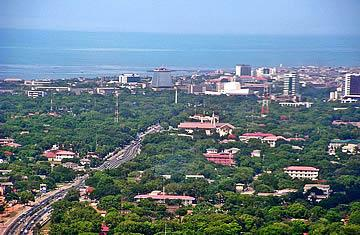Aerial view of Accra Central Business District (CBD).
