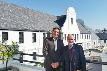 GBCSA CEO Brian Wilkinson, right, with Werner van Antwerpen, who heads up Growthpoint Properties' specialised sustainability division, at the Kirstenhof Office Park in Johannesburg, which has become the 100th building to achieve a 5 Green Star rating.