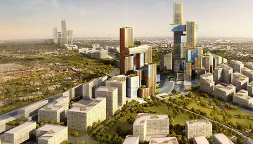 Artist Perspective of the new $7.4 billion city in Modderfontein, Johannesburg, to be developed by Hong Kong listed Shanghai Zendai.