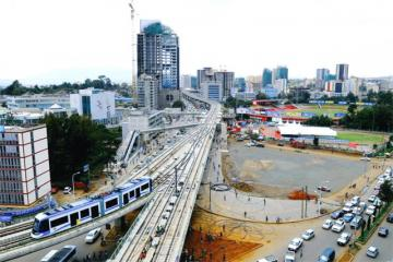 Area view of Addis Ababa's new Light Rail Service.