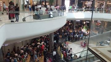 Huge crowds queued at the newly opened Mall of Africa during the first weekend of the mall's opening on April 30, 2016.