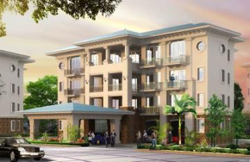An artist's impression of an apartment building in a new upmarket golf resort development on Lake Victoria, Uganda.